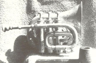 Pocket cornet in B flat made by Henry Distin and won in a cornet contest by Clarke plating Levy's Cornet Polka in 1886