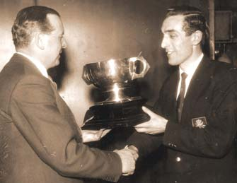 James accepts the Solo Champions cup for the second time in 1960
