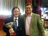 Championship Section: Olivia Samuel receives the trophy for Rainford Band