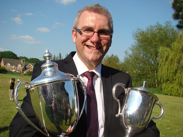 Ian Porthouse with Masters trophies