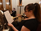 17. Carlton Main Frickley Colliery (Phillip McCann) Principal Cornet: Kirsty Abbotts warms up before taking the stage